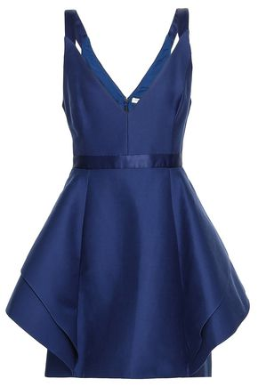 HALSTON HERITAGE Ruffled cotton and silk-blend mini dress