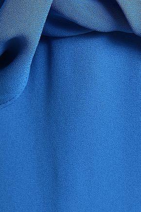HALSTON HERITAGE Cold-shoulder draped crepe de chine jumpsuit