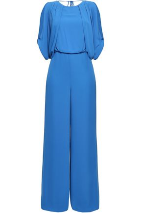 HALSTON HERITAGE Cold-shoulder draped crepe de chine jumpsuit