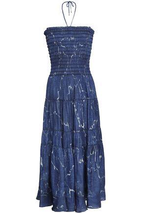 HALSTON HERITAGE Strapless printed twill midi dress