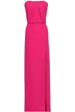 HALSTON HERITAGE Strapless gathered washed-crepe gown