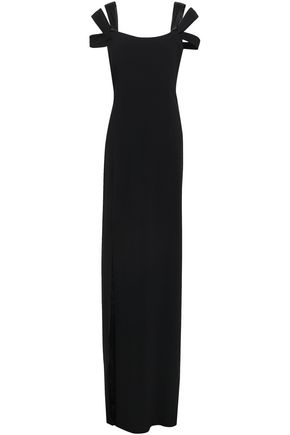 HALSTON HERITAGE Cutout split-front stretch-crepe maxi dress