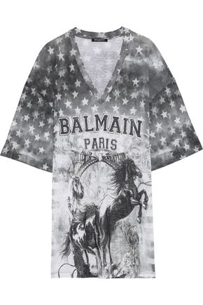 BALMAIN Oversized distressed printed linen-jersey T-shirt