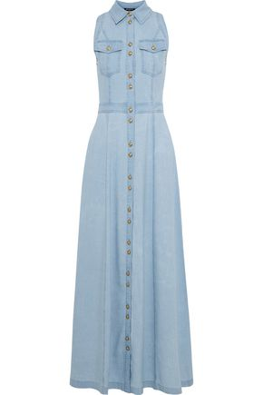 BALMAIN Cotton-blend gauze maxi shirt dress