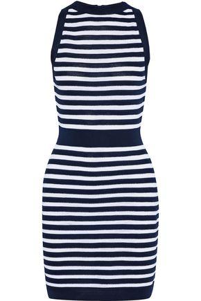 BALMAIN Striped knitted mini dress