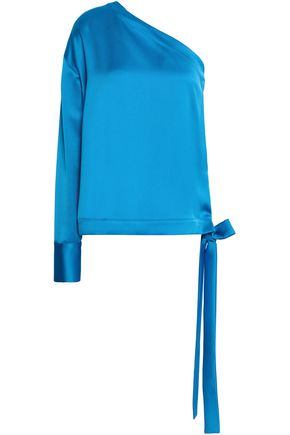 MSGM One-shoulder satin-crepe top