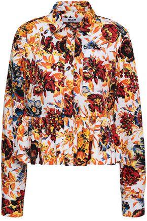 MSGM Pussy-bow printed cotton-poplin shirt