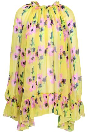 MSGM Oversized floral-print silk-chiffon blouse