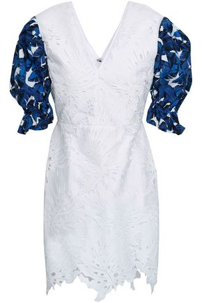 MSGM Printed poplin and guipure lace mini dress
