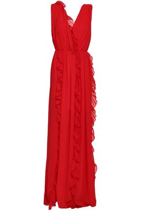 MSGM Ruffled chiffon maxi dress