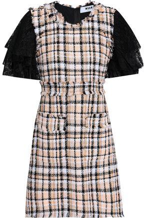 MSGM Lace-trimmed tweed mini dress