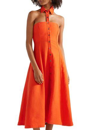 MARA HOFFMAN Veronique Tencel and linen-blend halterneck midi dress
