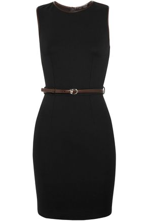 GUCCI Leather-trimmed stretch-ponte dress