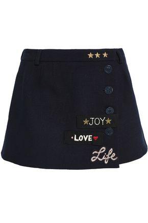 REDValentino Embellished wrap-effect felt culotte shorts