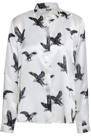 MSGM Printed silk-satin shirt