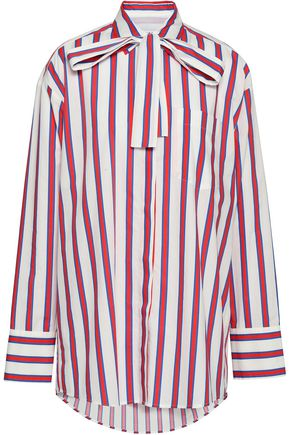 MSGM Pussy-bow striped cotton-poplin shirt