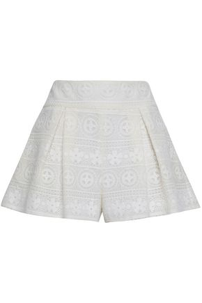 REDValentino Pleated lace shorts