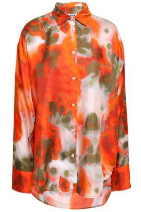 MSGM Printed silk-twill shirt