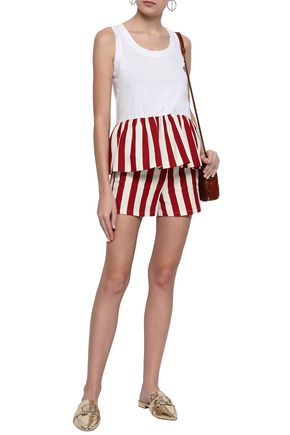 d096aa35468 REDValentino Striped cotton and silk-blend twill shorts