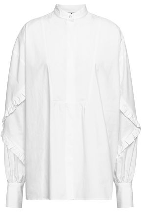 MSGM Ruffled cotton-poplin shirt