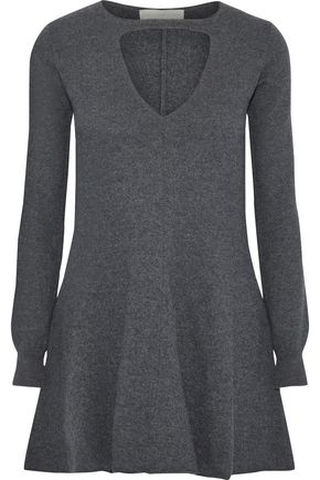STELLA McCARTNEY Fluted cutout mélange wool tunic