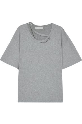 STELLA McCARTNEY Oversized chain-embellished cutout cotton-jersey T-shirt