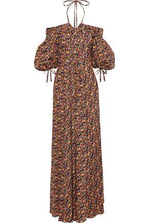 ZAC POSEN Cold-shoulder pleated printed cotton-poplin maxi dress