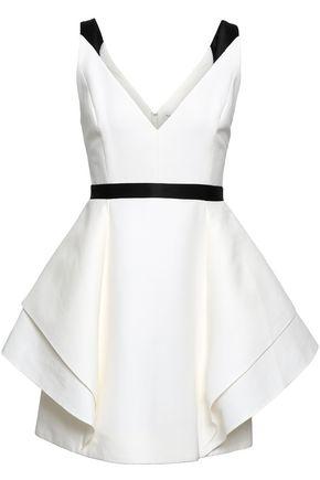 HALSTON HERITAGE Satin-trimmed draped cotton and silk-blend mini dress
