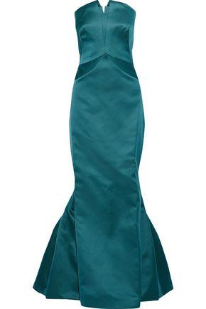 ZAC POSEN Strapless fluted duchesse-satin gown