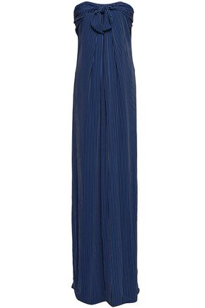 HALSTON HERITAGE Strapless knotted striped crepe gown