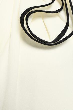 HALSTON HERITAGE One-shoulder ruffled stretch-crepe midi dress