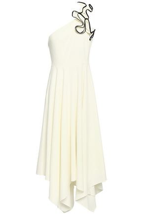 HALSTON HERITAGE One-shoulder ruffled stretch-crepe midi dress