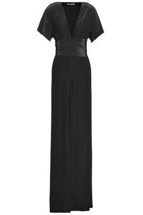 HALSTON HERITAGE Tie-back metallic crepe gown