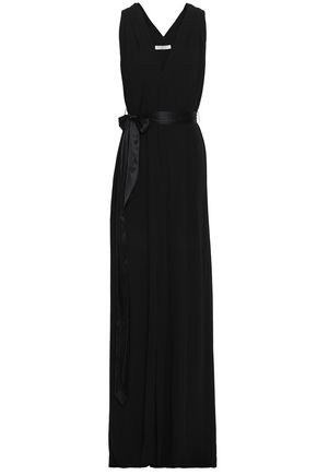 HALSTON HERITAGE Belted crepe de chine gown