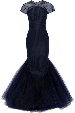ZAC POSEN Pleated chiffon and tulle-paneled silk-faille gown