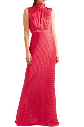 SALONI Cutout satin-jacquard gown