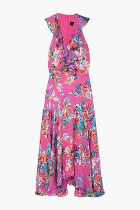 ANNA SUI Ruffled printed devoré-chiffon midi dress