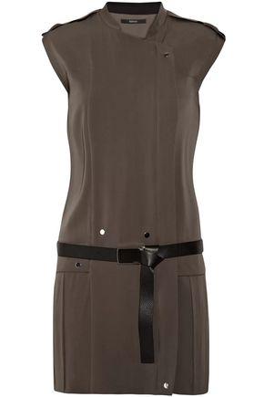 GUCCI Belted stretch silk-crepe dress