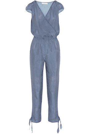 PALOMA BLUE Manhattan embellished printed silk crepe de chine jumpsuit