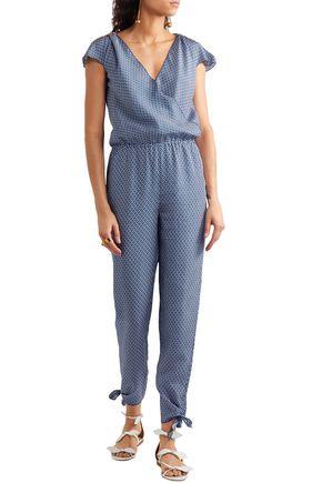 PALOMA BLUE Manhattan embellished printed silk crepe de chine jumpsuit
