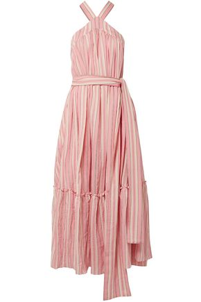 THREE GRACES LONDON Seton striped crinkled cotton-voile maxi dress