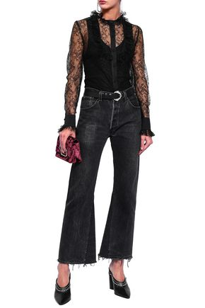 MAGDA BUTRYM Silk satin-trimmed lace blouse