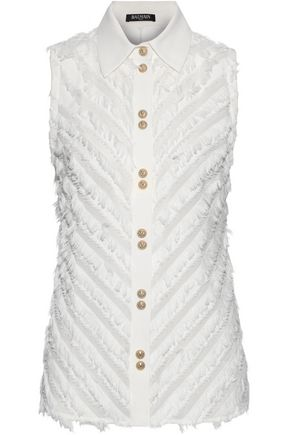 BALMAIN Fringed cotton shirt