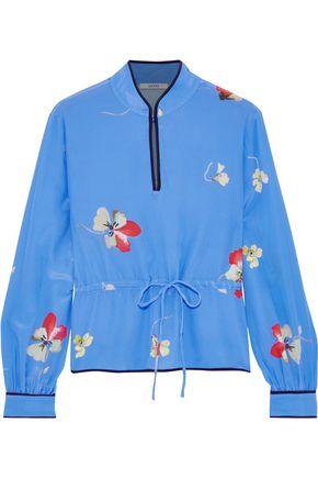 GANNI Joycedale floral-print washed-silk blouse