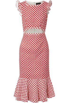SALONI Cutout printed stretch-crepe dress
