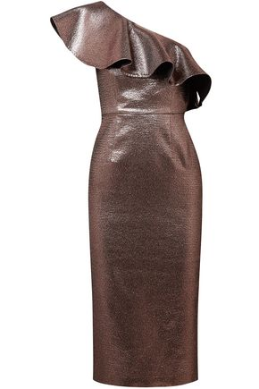 RACHEL ZOE One-shoulder metallic woven midi dress