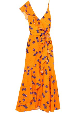 BORGO DE NOR Wrap-effect ruffled floral-print crepe de chine maxi dress