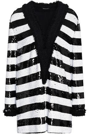BALMAIN Embellished striped woven blouse