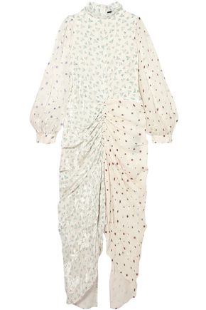 JOSEPH Fay ruched printed devoré silk-blend chiffon midi dress