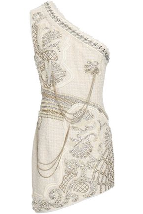 BALMAIN One-shoulder embellished tweed mini dress